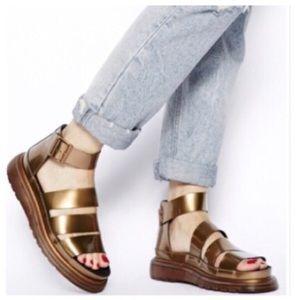 Dr. Martens Clarissa sandals spectra patent copper